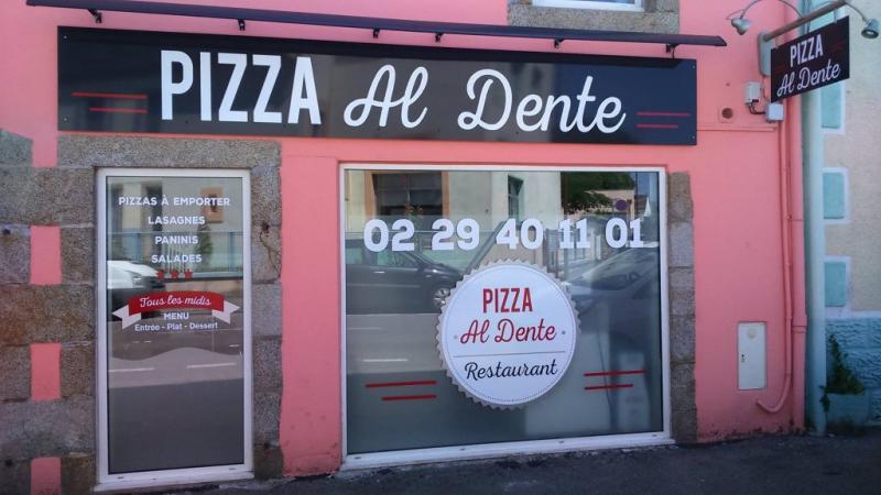 Pizza Al dente : enseigne, vitrines, menus et cartes de fidélité